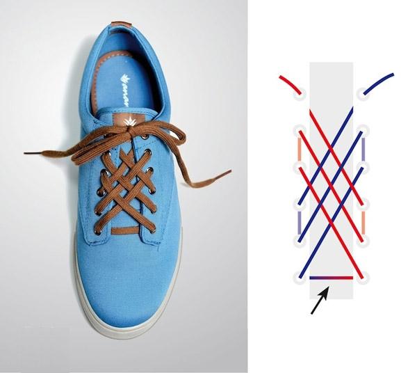 Cách buộc dây giày mắt cáo