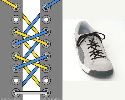 Cách buộc dây giày kiểu thắt chéo kép