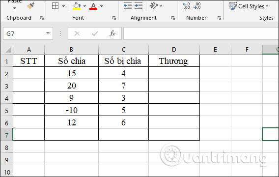 Cách sử dụng hàm tính thương MOD và QUOTIENT trong Excel