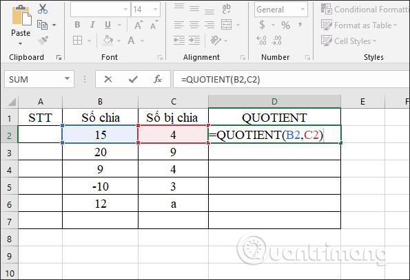 Cách sử dụng hàm tính thương MOD và QUOTIENT trong Excel - Ảnh minh hoạ 6