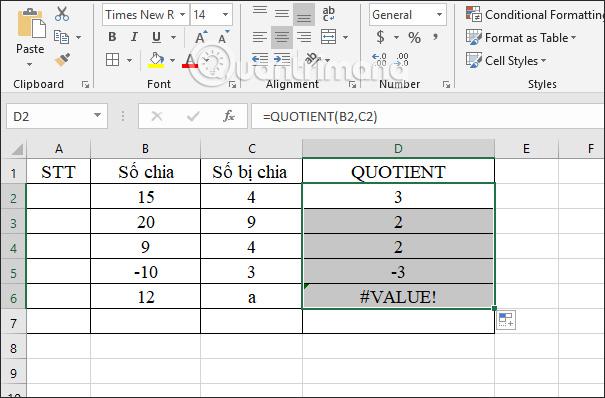 Cách sử dụng hàm tính thương MOD và QUOTIENT trong Excel - Ảnh minh hoạ 7