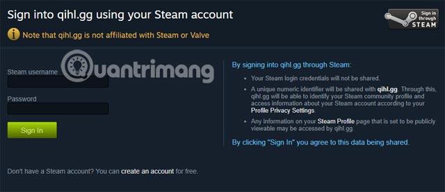 Đăng nhập vào tài khoản Steam của bạn