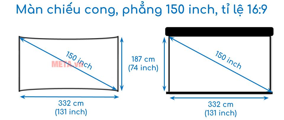 Kích thước màn chiếu 150 inch tỉ lệ 16:9