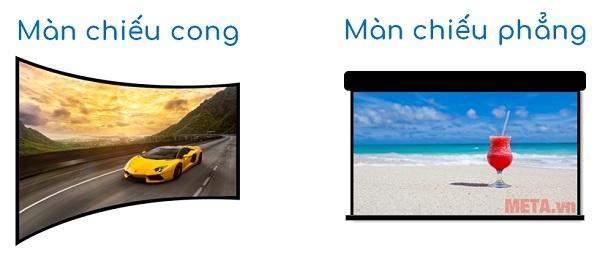 Màn chiếu cong có hình ảnh chất lượng hơn so với màn chiếu phẳng.