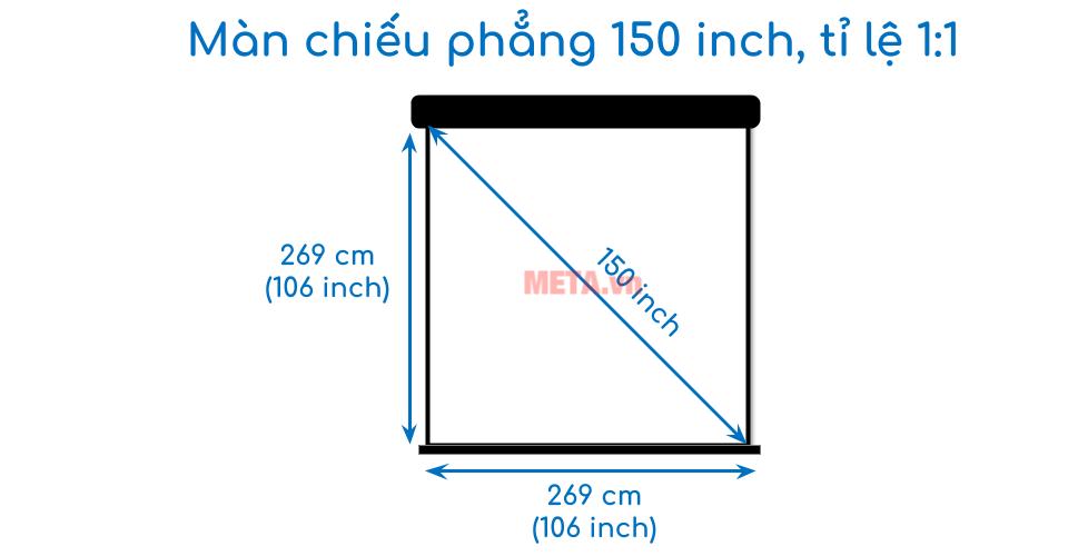 Kích thước màn chiếu 150 inch tỉ lệ 1:1