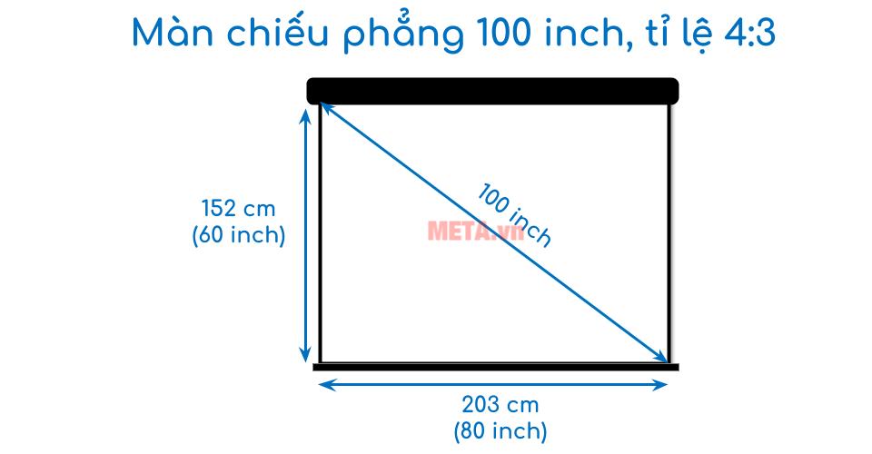 Kích thước màn chiếu 100 inch tỉ lệ 4:3