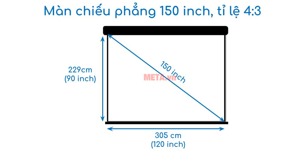 Kích thước màn chiếu 150 inch tỉ lệ 4:3