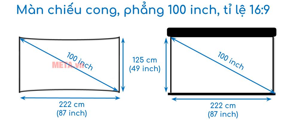 Kích thước màn chiếu 100 inch tỉ lệ 16:9