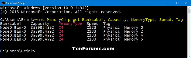 Kiểm tra loại, dung lượng và tốc độ RAM trong Command Prompt