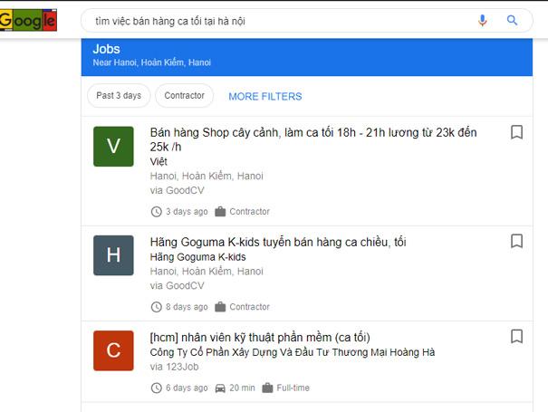 Tìm việc làm nhanh trên Google