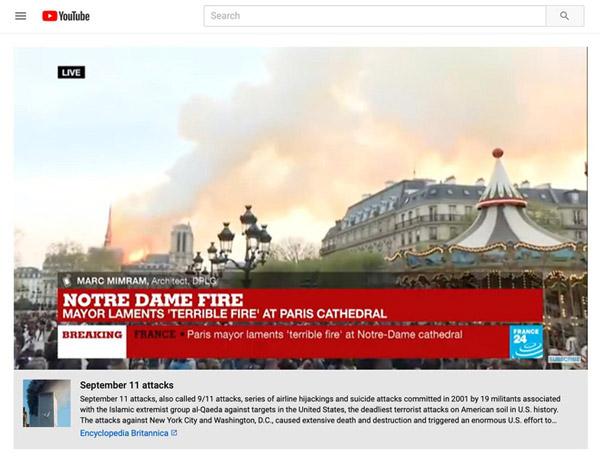 YouTube khẳng định vụ cháy Nhà thờ Đức Bà Paris là khủng bố 2
