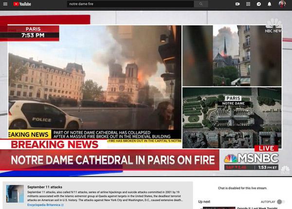 YouTube khẳng định vụ cháy Nhà thờ Đức Bà Paris là khủng bố 3