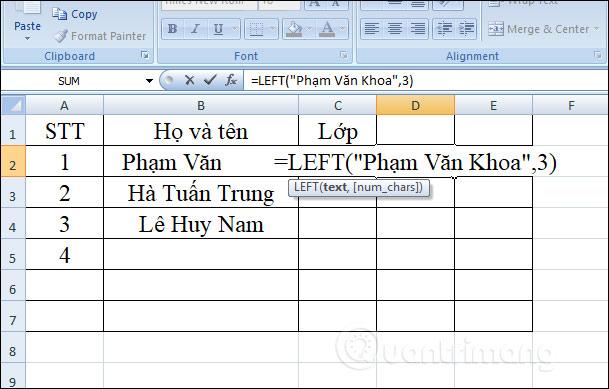 Hàm LEFT, cách dùng hàm cắt chuỗi ký tự bên trái trong Excel - Ảnh minh hoạ 3