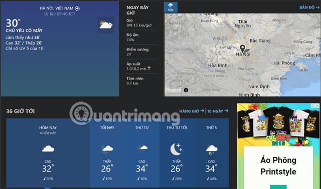 Thông tin thời tiết thành phố Weather Channel