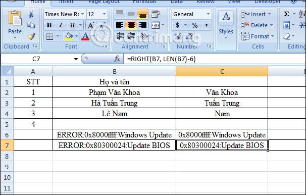 Hàm RIGHT, cách dùng hàm cắt chuỗi ký tự bên phải trong Excel - Ảnh minh hoạ 7