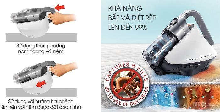 Sharp EC-HX100 có thể dễ dàng loại bỏ 99% bụi bẩn, mảng bám và rệp