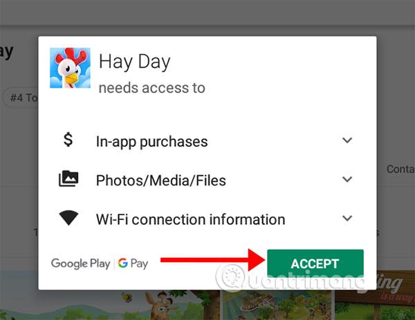 Cho phép Hay Day cài đặt