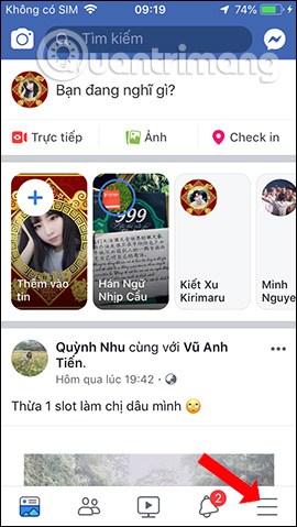 Giao diện Facebook