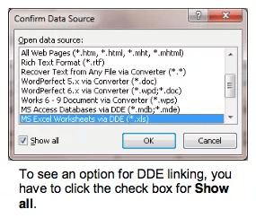 Chọn MS Excel Worksheets via DDE (*.xls)