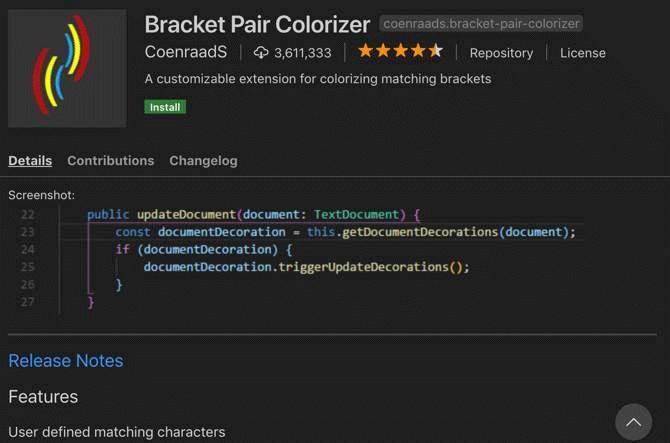 Extension Bracket Pair Colorizer