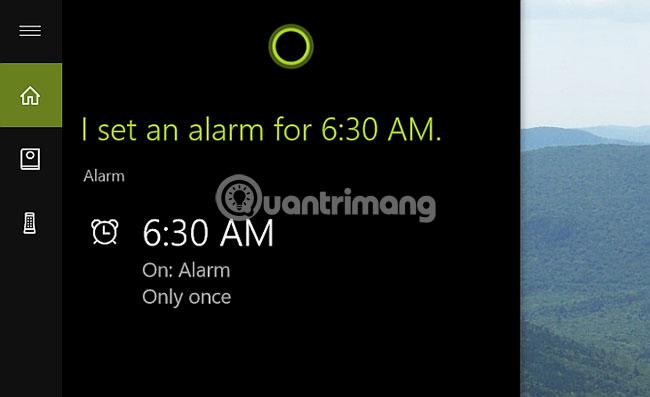 Cortana desktop thực hiện nhiệm vụ trong cửa sổ