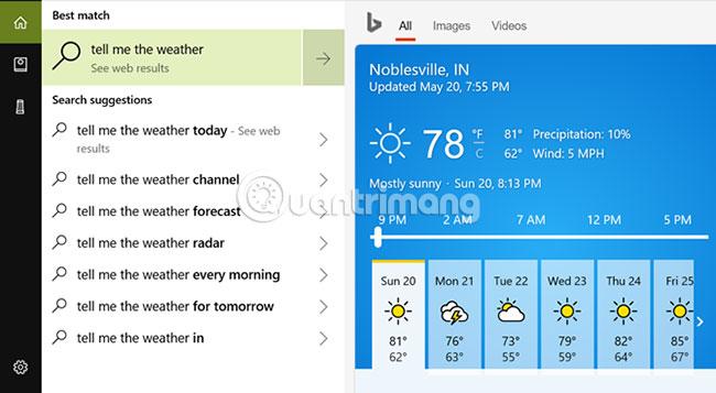 Thông tin trên ứng dụng desktop của Cortana