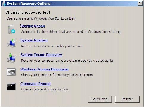 Màn hình System Recovery Options