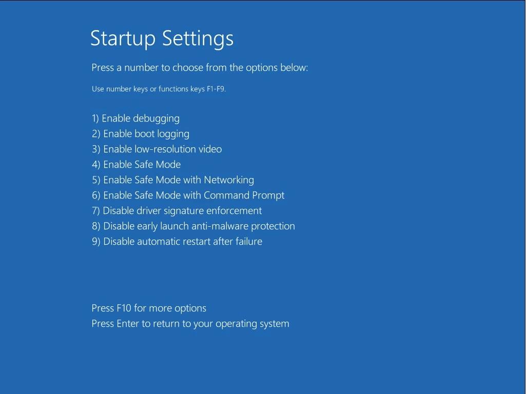 Màn hình Startup Settings