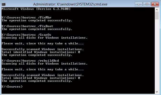 Chạy lệnh bootrec trên Windows 8