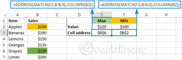 Cách dùng hàm ADDRESS trong Excel - Ảnh minh hoạ 3