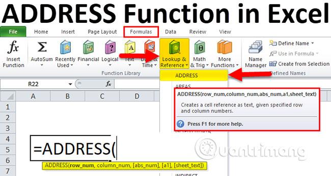Cách dùng hàm ADDRESS trong Excel - Ảnh minh hoạ 2