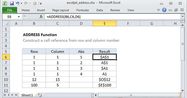 Cách dùng hàm ADDRESS trong Excel