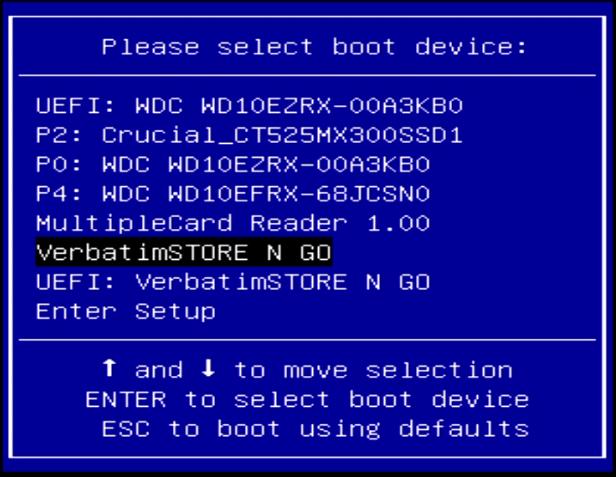 Khởi động vào menu Boot Selection
