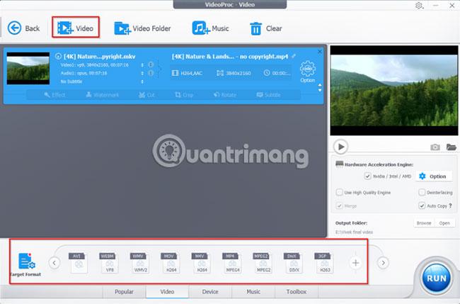Chọn định dạng video