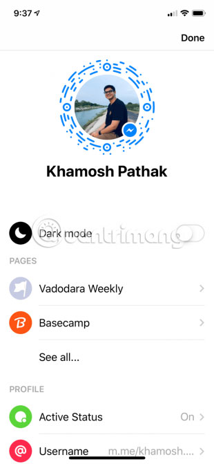 Chế độ Dark Mode trên FB Messenger