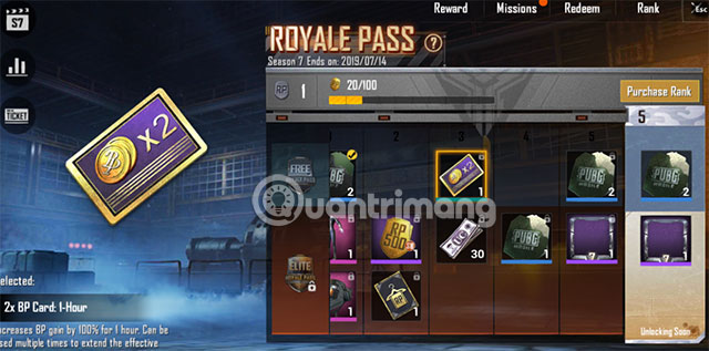 Thẻ X2 BP Royale pass PUBG Mobile