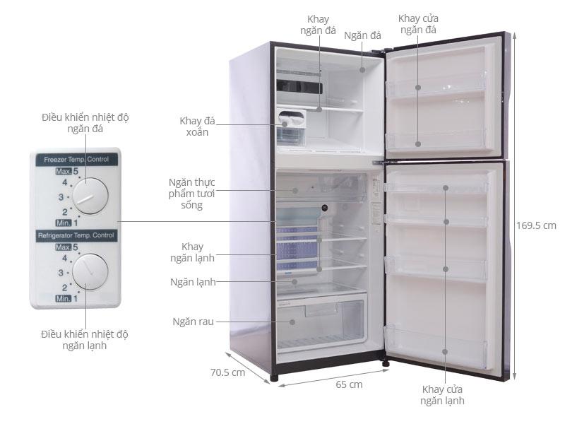 Tủ lạnh Hitachi 365 lít r-vg440pgv3 gbk 2 cửa 8
