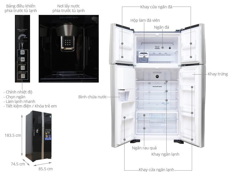 Tủ lạnh Hitachi 540 lít r-w660pgv3 5