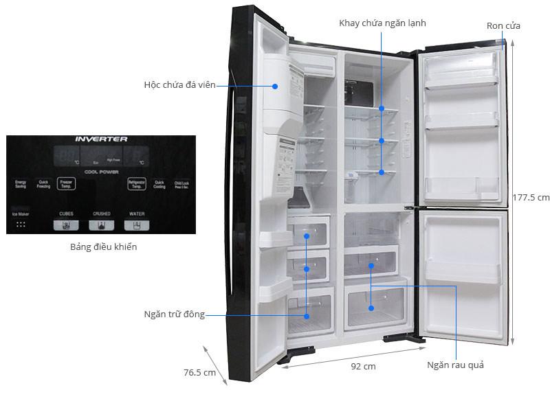 Tủ lạnh Hitachi 584 lít r-m700gpgv2 Side by side 3 cửa 6