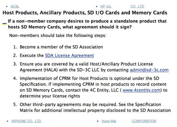 Theo quy định của SD Association, bước đầu tiên để có thể sản xuất sản phẩm có thể đọc/ghi thẻ nhớ SD là phải trở thành thành viên của hiệp hội này