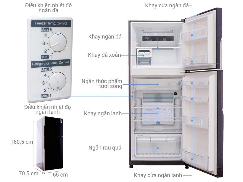 Tủ lạnh Hitachi 335 lít r-vg400pgv3 gbk 8