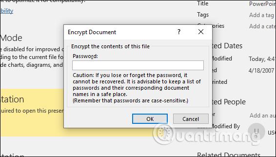 Xóa mật khẩu đã tạo