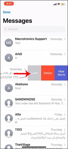 Nhấn Lock khóa tin nhắn