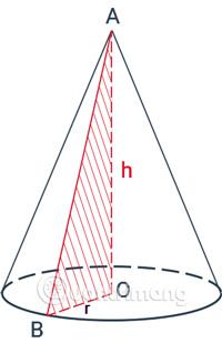 Quay một vòng quanh cạnh góc vuông OA cố định thì được một hình nón.