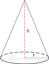 Hình chóp được tạo thành khi xoay một tam giác vuông quanh trục của nó một vòng.