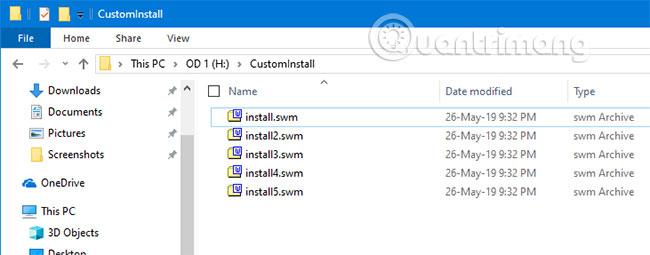 File install.wim bị hỏng trong thư mục đích