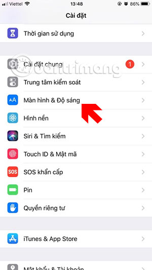 Menu cài đặt iPhone