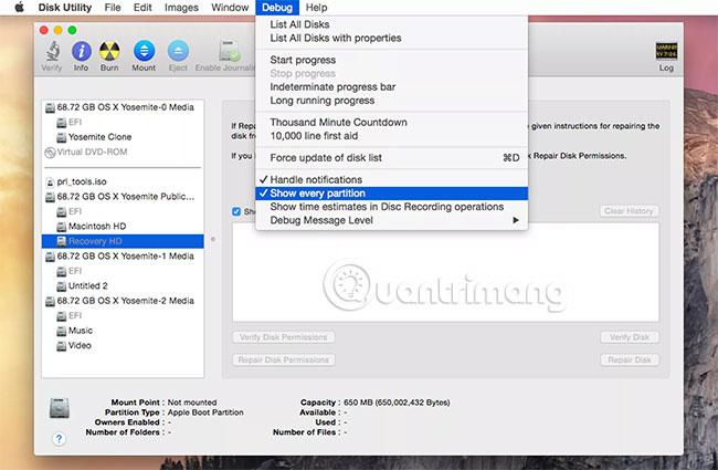 Tạo volume Recovery HD trên OS X Lion thông qua OS X Yosemite