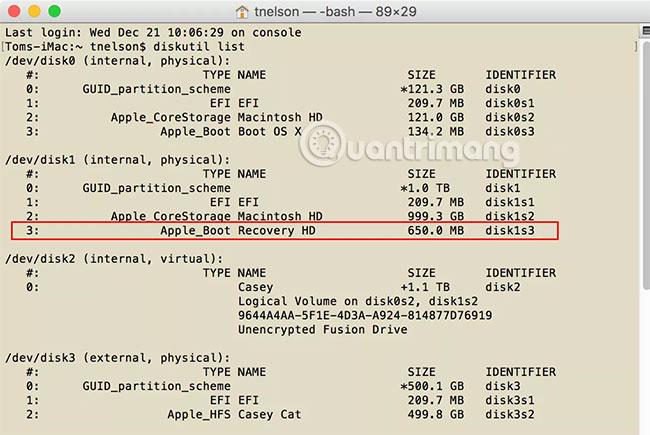 Tạo volume Recovery HD trên OS X El Capitan và những phiên bản sau đó