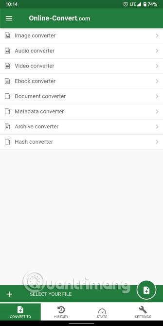 Loại chuyển đổi của File Converter